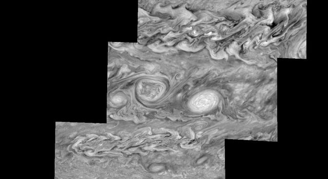 Mosaic of Jupiter's southern hemisphere between -10 and -80 degrees (south) latitude. These images were taken on May 7, 1997, at a range of 1.5 million kilometers by the Solid State Imaging system on NASA's Galileo spacecraft.