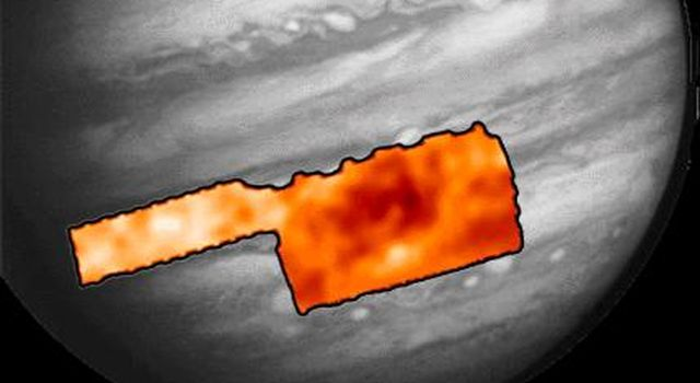 This map shows temperatures for the region around Jupiter's Great Red Spot and an area to the northwest. This map was made from data taken by NASA's Photopolarimeter/Radiometer (PPR) instrument on June 26, 1996.