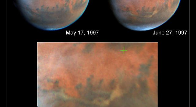 NASA's Hubble Space Telescope images of Mars, taken on June 27, 1997, reveal a significant dust storm which fills much of the Valles Marineris canyon system and extends into Xanthe Terra.