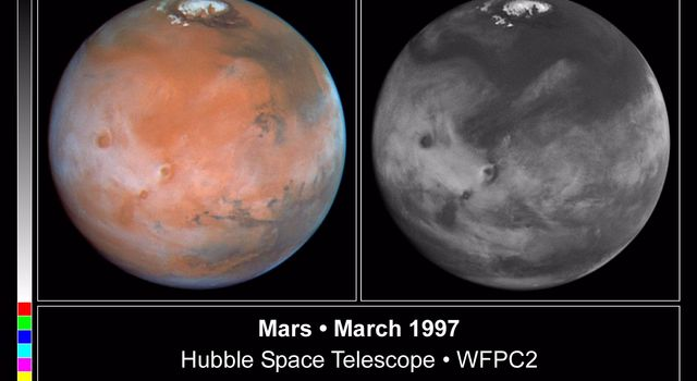 These color and black and white pictures of Mars were taken by NASA's Hubble Space Telescope just two weeks after Earth made its closest approach to the Red Planet during the 1997 opposition.