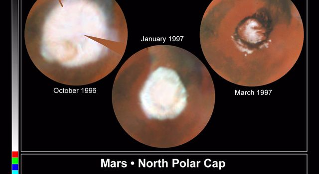 These images, which seem to have been taken while NASA's Hubble Space Telescope was looking directly down on the Martian North Pole, were actually created by assembling mosaics of three sets of images taken by HST 1996 and in 1997.