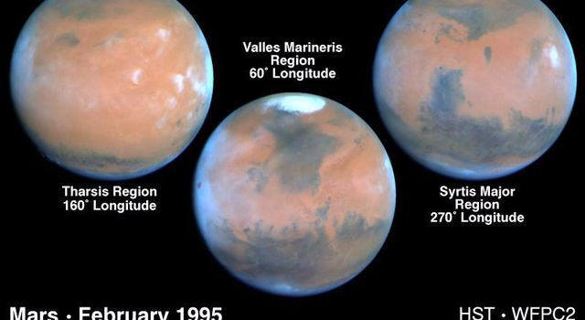 These NASA Hubble Space Telescope views provide the most detailed complete global coverage of the red planet Mars ever seen from Earth. The pictures were taken on February 25, 1995, when Mars was at a distance of 65 million miles.