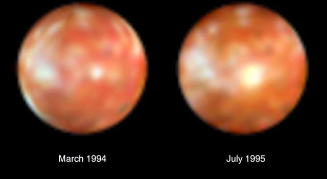 This NASA Hubble Space Telescope pair of images of Jupiter's volcanic moon Io shows the surprising emergence of a 200-mile diameter large yellowish-white feature near the center of the moon's disk (photo on the right).
