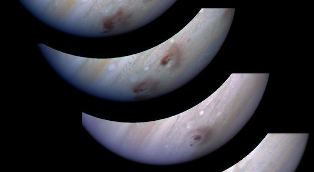This mosaic of WFPC-2 images shows the evolution of the Shoemaker-Levy 9 G impact site on Jupiter. The images were captured by NASA's Hubble Space Telescope.