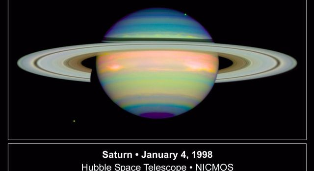 NASA's Hubble Space Telescope took this false-color image of Saturn on Junary 4, 1998, providing detailed information on the clouds and hazes in Saturn's atmosphere.