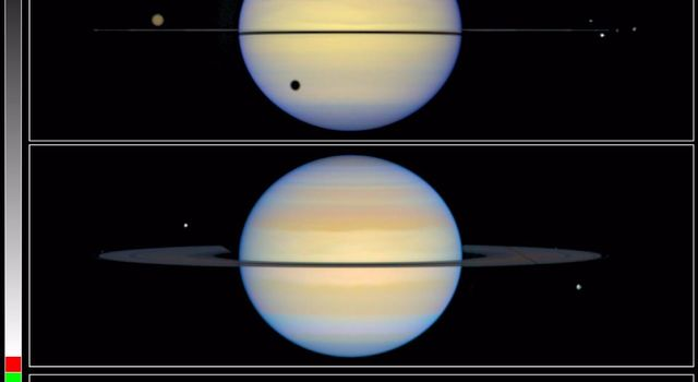 This is a NASA Hubble Space Telescope snapshot of Saturn with its rings barely visible. Normally, astronomers see Saturn with its rings tilted. Earth was almost in the plane of Saturn's rings, thus the rings appear edge-on.