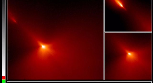 These are NASA Hubble Space Telescope images of comet Hyakutake, taken at 8:30 P.M., EST on Monday, March 25 when the comet passed at a distance of only 9.3 million miles from Earth.