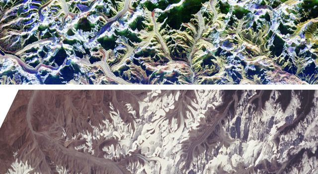 These are two comparison images of Mount Everest and its surroundings, along the border of Nepal and Tibet.