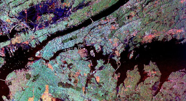 This radar image of the New York city metropolitan area. The island of Manhattan appears in the center of the image. The green-colored rectangle on Manhattan is Central Park.