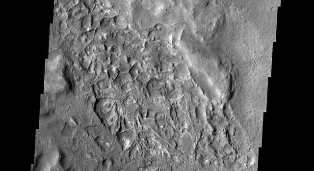 The ridges on the floor of this crater on Mars are made of a more resistant material that their surroundings. Erosion is removing the less resistant material. This image was taken by NASA's Mars 2001 Odyssey spacecraft.