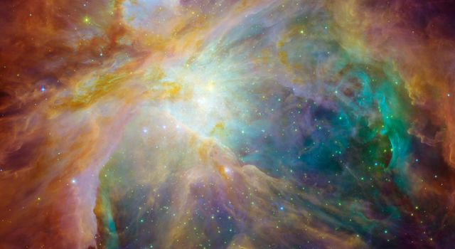 NASA's Spitzer and Hubble Space Telescopes have teamed up to expose the chaos that baby stars are creating 1,500 light-years away in a cosmic cloud called the Orion nebula.