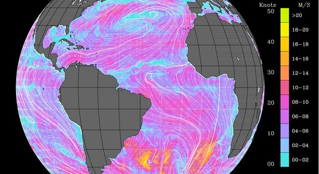 Atlantic Ocean Surface Winds from QuikScat