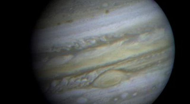 This is a view of Jupiter taken by NASA's Voyager 1. This image was taken through three color filters and recombined to produce the color image.