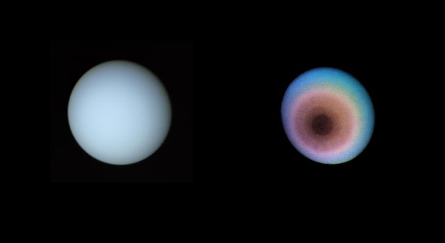These two pictures of Uranus were compiled from images recorded by NASA's Voyager 2 on Jan. 1O, 1986. This view is toward the planet's pole of rotation, which lies just left of center. The image on the right is a false-color image.