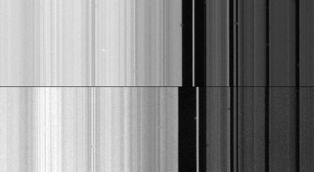 This composite image shows two views of the outer edge of Saturn's B-ring (left) and the inner part of the Cassini Division (right) in the rings as seen by NASA's Voyager 2 on Aug. 25, 1981.