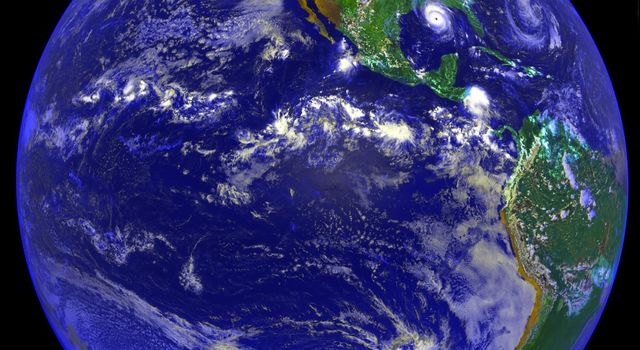 Image taken on August 25, 1992 by NASA's NOAA GOES-7 is of the Americas and Hurricane Andrew.