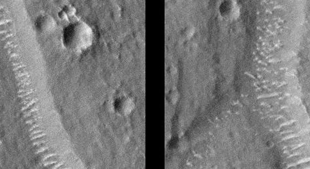 This image taken on August 31, 1998 by NASA's Mars Global Surveyor shows polygon cracks, or troughs, graben formed by faults.
