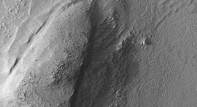 NASA's Mars Global Surveyor took this image of a low, rounded hill in southeastern Utopia Planitia on September 2, 1998.