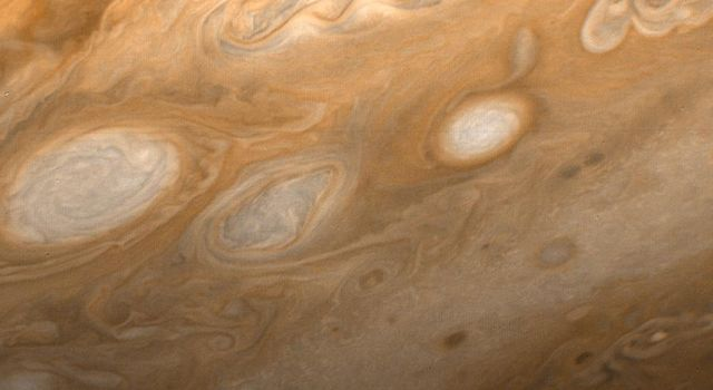 This photo of Jupiter was taken by NASA's Voyager 1 on March 1, 1979, from a distance of 2.7 million miles (4.3 million kilometers). The region shown is just to the southeast of the Great Red Spot.
