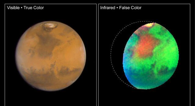 NASA Hubble Space Telescope images of Mars taken in visible and infrared light detail a rich geologic history and provide further evidence for water-bearing minerals on the planet's surface.