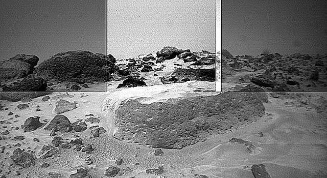 This image of the rock 'Flat Top' was taken from the left of NASA's Sojourner rover's front cameras on Sol 42. Pits on the edge of the rock and a fluted surface are clearly visible. The rocks in the left background comprise the Rock Garden.