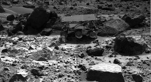 Sojourner Rover Backing Away From