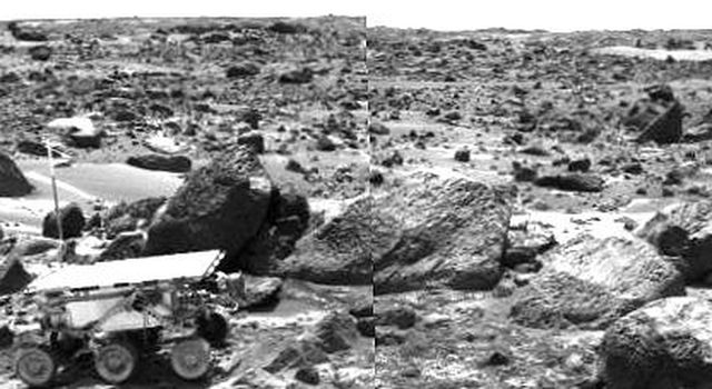 This is the left image of a stereo image pair taken on the afternoon of Sol 71 (September 14) shows NASA's Sojourner leaving the 'Rock Garden,' an assemblage of large rocks behind and to the right of the rover. Sol 1 began on July 4, 1997.