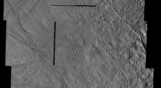 This mosaic shows the Tyre multi-ring structure which is thought to have been formed by a large impact onto Jupiter's moon Europa. Images obtained by the Solid State Imaging (SSI) system on NASA's Galileo spacecraft.
