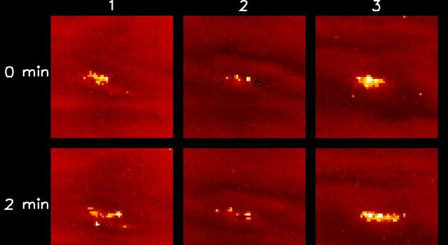 This view shows lightning storms in three different locations (panels 1, 2, and 3) on Jupiter's night side. Each panel shows multiple lightning strikes, coming from different parts of the same storm. Images captured by NASA's Galileo spacecraft.