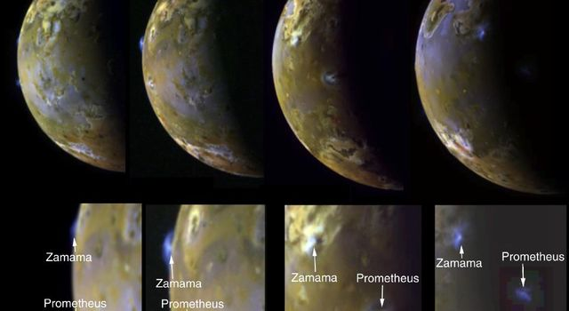 These four views of Jupiter's moon Io clearly show airborne plumes of gas and dust from two of Io's active volcanoes, Zamama and Prometheus. The bottom row consists of enlargements of the plume areas. Images captured by NASA's Galileo spacecraft.