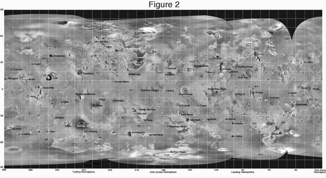 This global mosaic shows the highest resolution Galileo images available of Jupiter's moon, Io. Images were obtained by the Solid State Imaging (SSI) system on NASA's Galileo spacecraft.