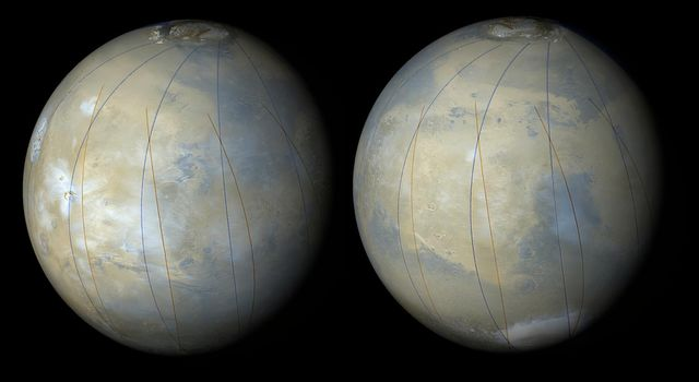 These two images are synthetic views of Mars made by combining NASA's Mars Global Surveyor's Mars Orbiter Camera wide angle images from several orbits during the first week of March 1999 during MOC's focus and calibration testing period.
