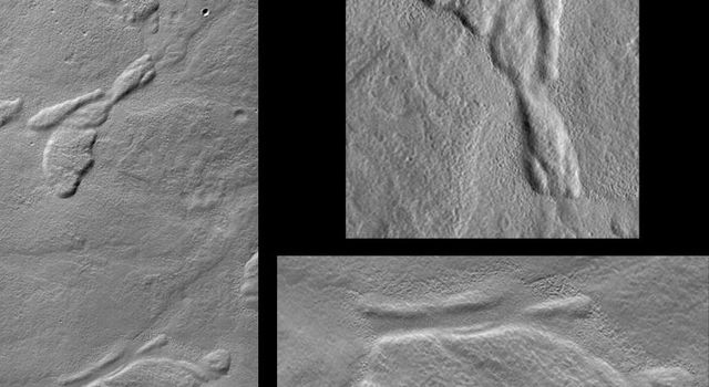 NASA's Mars Global Surveyor shows several low, relatively flat-topped hills (mesas) on the floor of a broad valley among the mountains of the Nereidum Montes region, northeast of Argyre Planitia.