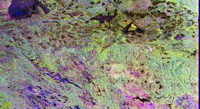 This image from NASA's Spaceborne Imaging Radar-C/X-band Synthetic Aperture Radar is a false-color composite of Raco, Michigan, located at the eastern end of Michigan's upper peninsula, west of Sault Ste. Marie and south of Whitefish Bay on Lake Superior.