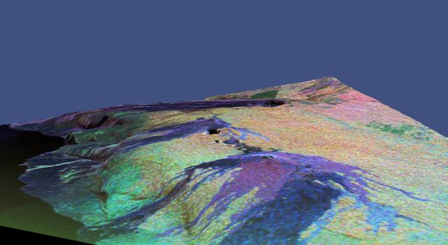 This is a three-dimensional perspective view of a false-color image of the eastern part of the Big Island of Hawaii from NASA's Spaceborne Imaging Radar C/X-Band Synthetic Aperture Radar.