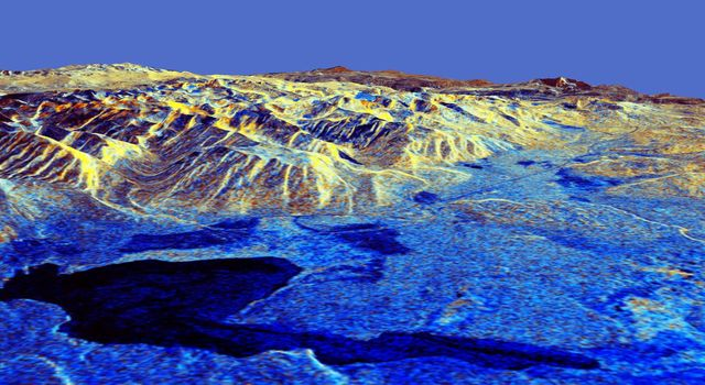 This is a three-dimensional perspective of Mammoth Mountain, California. This view was constructed by overlaying a NASA Spaceborne Imaging Radar-C (SIR-C) radar image on a U.S. Geological Survey digital elevation map.