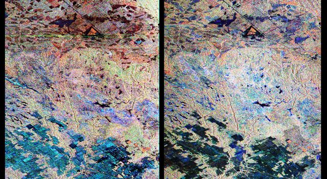 These are two false-color composites from NASA's Spaceborne Imaging Radar-C/X-band Synthetic Aperture Radar of Raco, Michigan, located at the eastern end of Michigan's upper peninsula, west of Sault Ste. Marie and south of Whitefish Bay on Lake Superior.