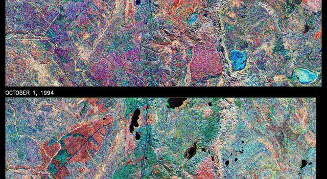This is a comparison of images over Prince Albert, Canada, produced by NASA's Spaceborne Imaging Radar-C and X-band Synthetic Aperture Radar aboard the space shuttle Endeavour on its 20th orbit on April 10, 1994.