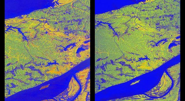 These two false-color images of the Manaus region of Brazil in South America were acquired by NASA's Spaceborne Imaging Radar-C and X-band Synthetic Aperture Radar on board the space shuttle Endeavour.