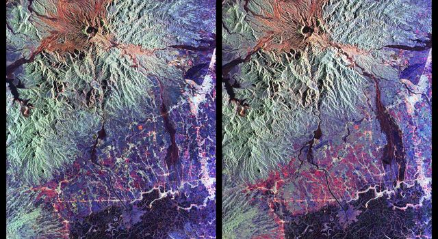 These are color composite radar images showing the area around Mount Pinatubo in the Philippines. The images were acquired by NASA's Spaceborne Imaging Radar-C and X-band Synthetic Aperture Radar aboard the space shuttle Endeavour.