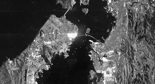 This is a radar image from NASA's Spaceborne Imaging Radar C/X-Band Synthetic Aperture Radar of San Francisco, California, taken on October 3,1994. Downtown San Francisco, San Francisco Bay, Oakland, the Golden Gate Bridge, and Alcatraz are shown.