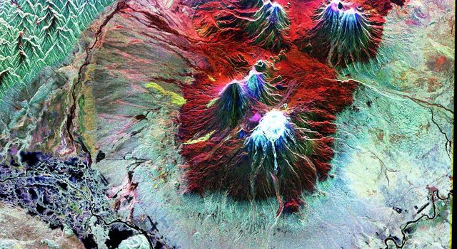 This is an image NASA's Spaceborne Imaging Radar-C/X-band Synthetic Aperture Radar of the area of Kliuchevskoi volcano, Kamchatka, Russia, which erupted on September 30, 1994.