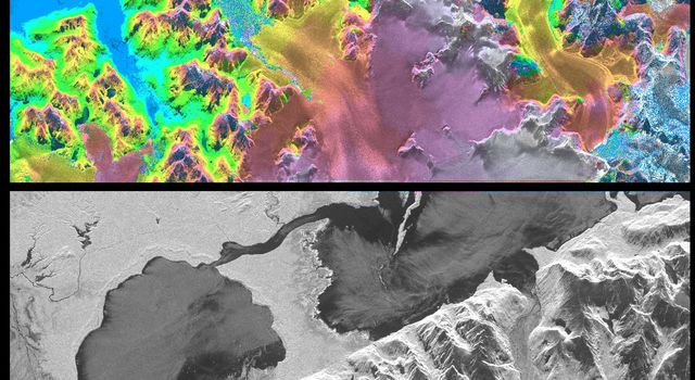 NASA's Spaceborne Imaging Radar-C/X-band Synthetic Aperture Radar instrument shows Chile's huge, remote Patagonia ice fields.