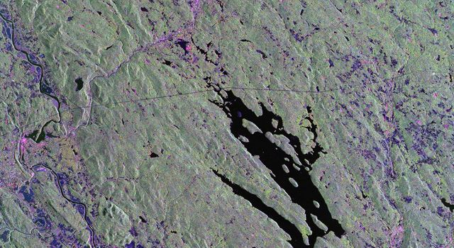 This is a radar image from NASA's Spaceborne Imaging Radar-C/X-band Synthetic Aperture Radar of the area surrounding Harvard Forest in north-central Massachusetts that has been operated as a ecological research facility by Harvard University since 1907.