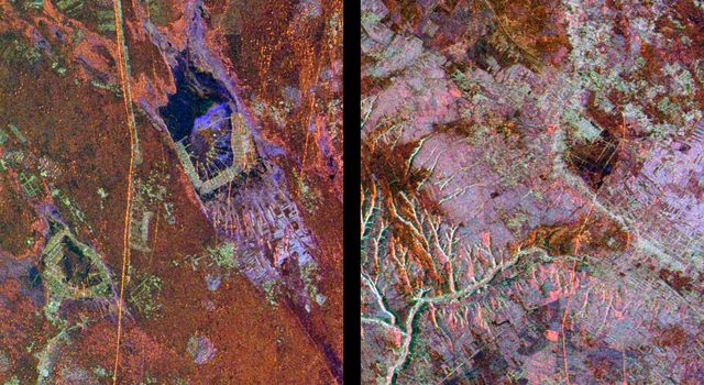 These radar images from NASA's Spaceborne Imaging Radar-C/X-band Synthetic Aperture Radar show two segments of the Great Wall of China in a desert region of north-central China, about 700 kilometers (434 miles) west of Beijing.