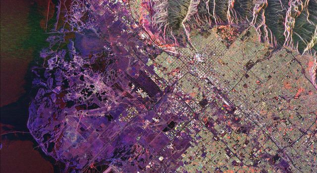 This radar image from NASA's Spaceborne Imaging Radar-C/X-band Synthetic Aperture Radar of Salt Lake City, Utah, illustrates the different land use patterns that are present in the Utah Valley.