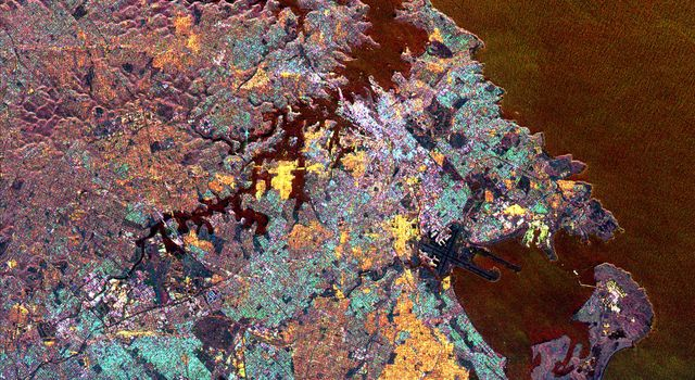This spaceborne radar image from NASA's Spaceborne Imaging Radar C/X-Band Synthetic Aperture Radar is dominated by the metropolitan area of Australia's largest city, Sydney.