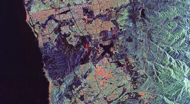 This spaceborne radar image from NASA's Spaceborne Imaging Radar C/X-Band Synthetic Aperture Radar of Orange County, Calif., shows the massive urbanization of this rapidly growing region located just south of Los Angeles.