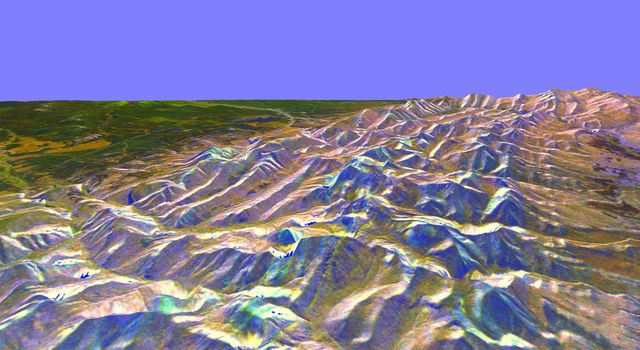 This is a three-dimensional perspective from NASA's Spaceborne Imaging Radar-C/X-band Synthetic Aperture of the eastern front range of the Rocky Mountains, about 120 kilometers (75 miles) west of Great Falls, Montana.