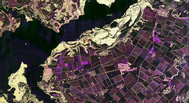 This spaceborne radar image from NASA's Spaceborne Imaging Radar C/X-Band Synthetic Aperture Radar shows the intensive agricultural development in central Ukraine, along the Dnieper River. The area shown lies southeast of Kiev and northeast of Odessa.